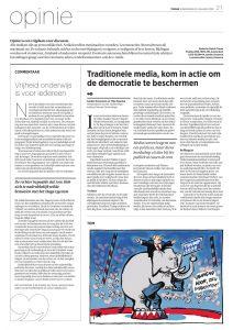 Opinie, 20200123, Trouw, Traditionele media, kom in actie om de democratie te beschermen